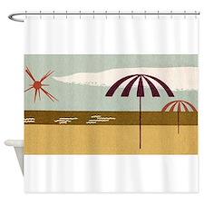 Beach Umbrellas, Retro, Vintage Poster Shower Curt