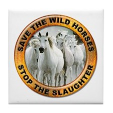 Save Wild Horses Tile Coaster
