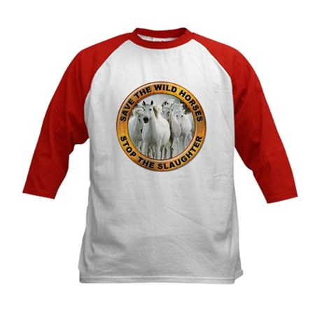Save Wild Horses (Front) Kids Baseball Jersey