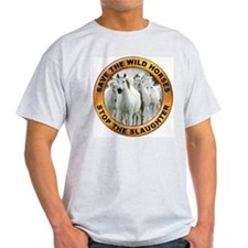 Save Wild Horses (Front) Ash Grey T-Shirt