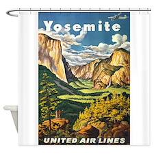 Yosemite, National Park, Vintage Poster Shower Cur