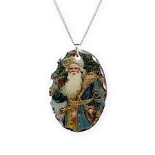Vintage Christmas Santa Claus Necklace Oval Charm