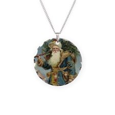 Vintage Christmas Santa Clau Necklace Circle Charm