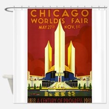 Chicago, Worlds Fair, Vintage Poster Shower Curtai