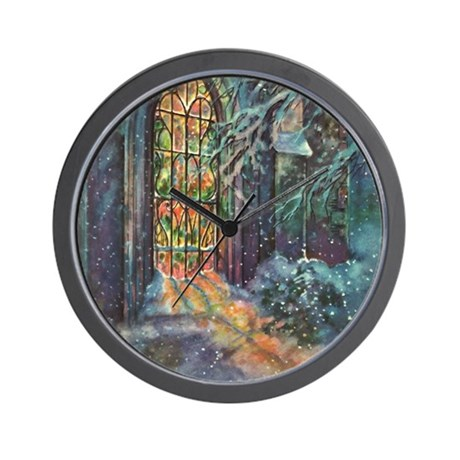 Vintage Church Stained Glass Window Wall Clock