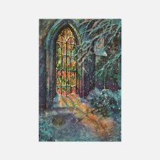 Vintage Church Stained Glass Wind Rectangle Magnet