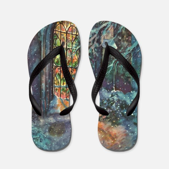 Vintage Church Stained Glass Window Flip Flops