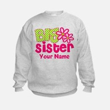 Big Sister Pink Green Personalized Sweatshirt