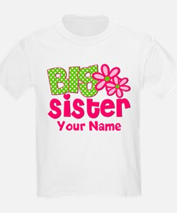 Big Sister Pink Green Personalized T-Shirt