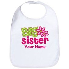 Big Sister Pink Green Personalized Bib