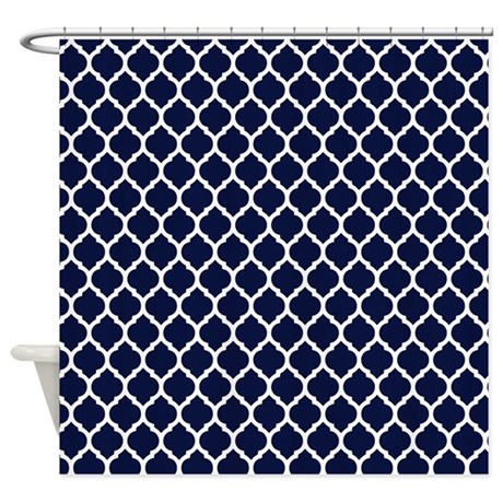Navy Blue Moroccan Lattice Shower Curtain by doodles design