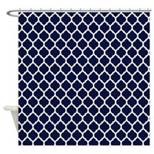 Navy Blue Moroccan Lattice Shower Curtain For
