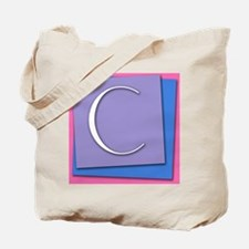 Letter C Stacked Color Block Canvas Tote