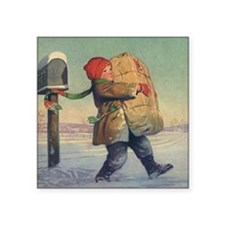 "Vintage Child with Package Square Sticker 3"" x 3"""