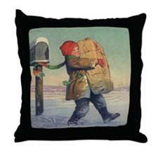 Vintage Child with Package Throw Pillow
