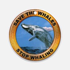 Save Whales Stop Whaling Ornament (Round)