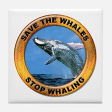 Save Whales Stop Whaling Tile Coaster