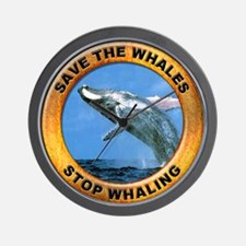 Save Whales Stop Whaling Wall Clock