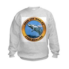 Save Whales Stop Whaling (Front) Sweatshirt