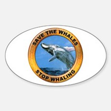 Save Whales Stop Whaling Oval Decal