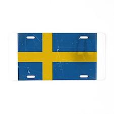 antiqued swedish flag Aluminum License Plate