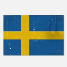antiqued swedish flag Postcards (Package of 8)