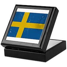 antiqued swedish flag Keepsake Box