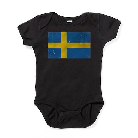 antiqued swedish flag Baby Bodysuit