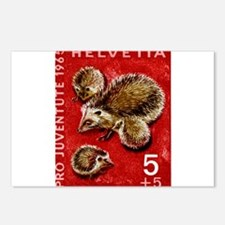 Vintage 1965 Switzerland hedgehogs Postage Stamp P