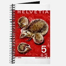 Vintage 1965 Switzerland hedgehogs Postage Stamp J