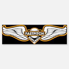 Fastpitch Wings Blk 10x3 Bumper Car Car Sticker