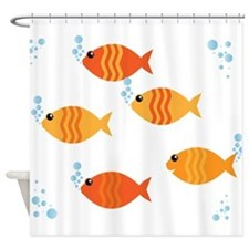 Five Orange Fish Shower Curtain