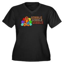 Gobble Gobble Gobble Colorful Turkey Plus Size T-S