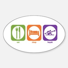 Eat Sleep Kayak Oval Decal