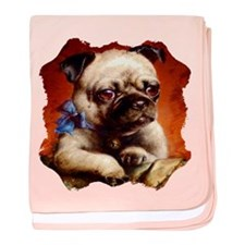 Bowtie Pug Puppy baby blanket