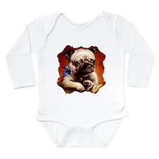 Bowtie Pug Puppy Long Sleeve Infant Bodysuit