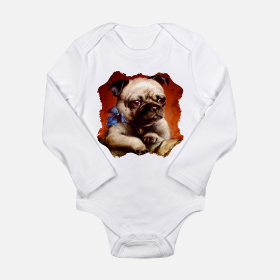 Bowtie Pug Puppy Long Sleeve Infant Bodysuit
