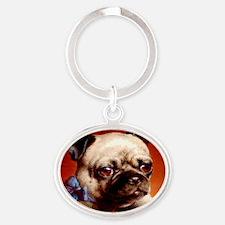 Bowtie Pug Puppy Oval Keychain