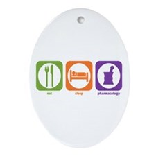 Eat Sleep Pharmacology Oval Ornament