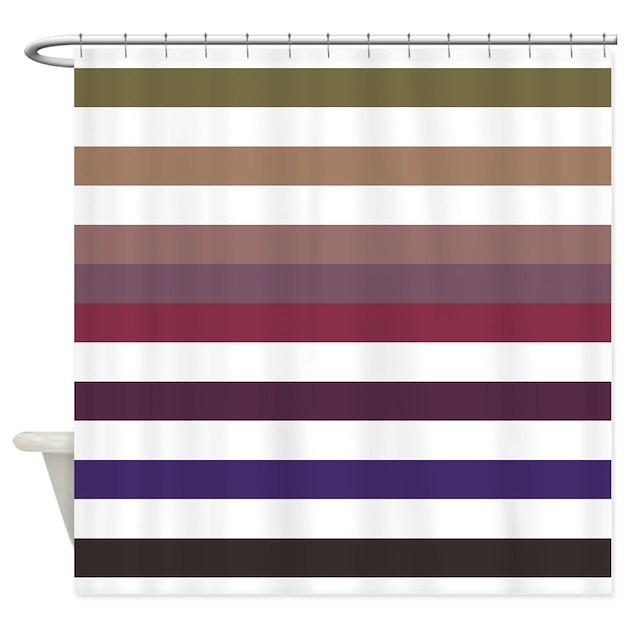 Plum Stripes Fall Fashion Shower Curtain by OhSoGirlyTKDesigns