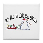 All in who you SNOW Tile Coaster