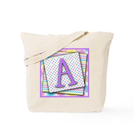 Letter A Triple Pattern Canvas Totebag