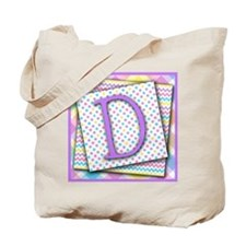 Letter D Triple Pattern Canvas Totebag