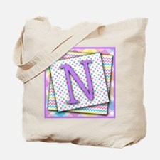 Letter N Triple Pattern Canvas Totebag