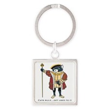 Cats Rule Square Keychain