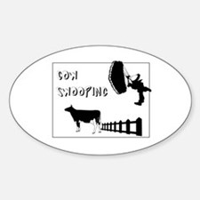 Cow Swooping Skydiving Oval Decal