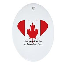 Canadian flag fan Oval Ornament