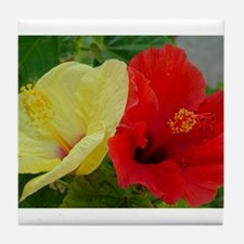 Red and Yellow Hibiscus Tile Coaster