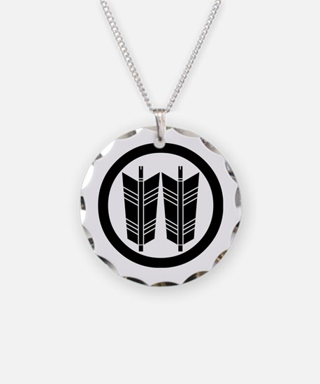 Two parallel arrows in circle Necklace