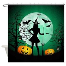 Green Halloween Shower Curtain